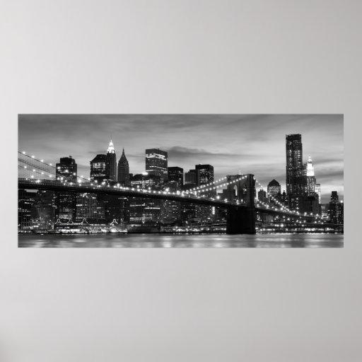 Puente de Brooklyn y horizonte de Manhattan en la  Poster