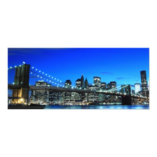 """Puente de Brooklyn y horizonte de Manhattan Invitación 4"""" X 9.25"""""""