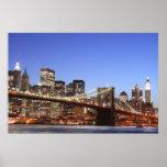 Puente de Brooklyn y horizonte de Manhattan Posters