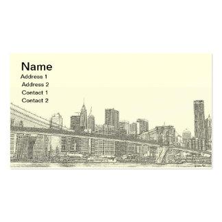 Puente de Brooklyn y horizonte de Manhattan Tarjeta Personal