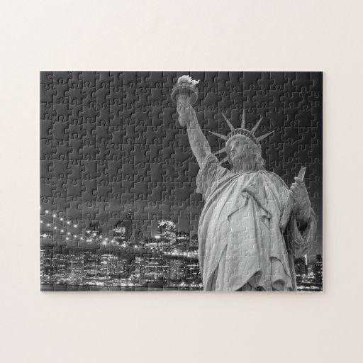 Puente de Brooklyn y la estatua de la libertad Puzzle Con Fotos
