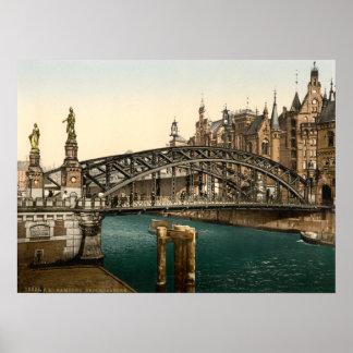 Puente de Brooksbrucke, Hamburgo, Alemania Poster
