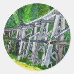 Puente de caballete etiquetas redondas