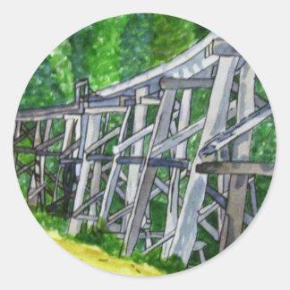 Puente de caballete pegatina redonda