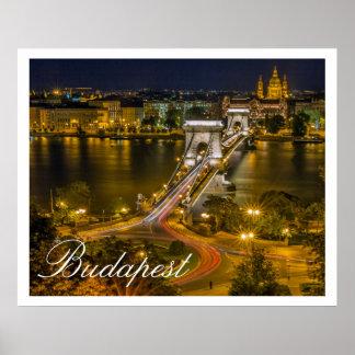 Puente de cadena Budapest Hungría de Szechenyi Posters