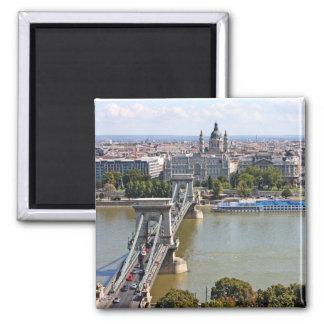 Puente de cadena de Szechenyi, Budapest, Hungría Imán Cuadrado