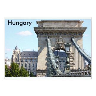 "Puente de cadena de Szechenyi, Budapest, Hungría, Invitación 5"" X 7"""