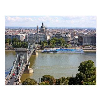 Puente de cadena de Szechenyi, Budapest, Hungría Postal