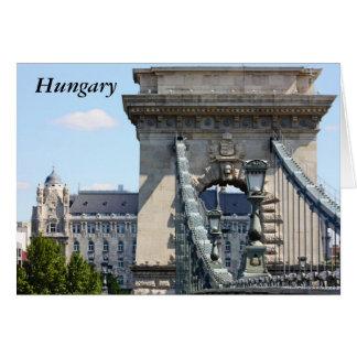 Puente de cadena de Szechenyi, Budapest, Hungría,  Tarjeta De Felicitación