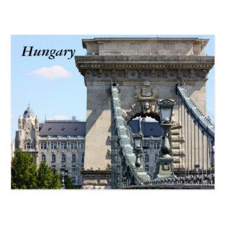 Puente de cadena de Szechenyi, Budapest, Hungría, Tarjeta Postal