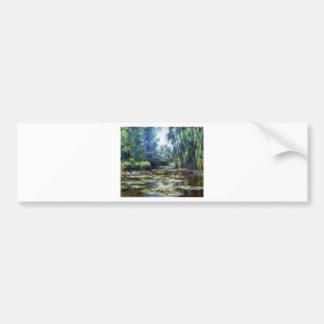 Puente de Claude Monet sobre la charca del lirio d Etiqueta De Parachoque