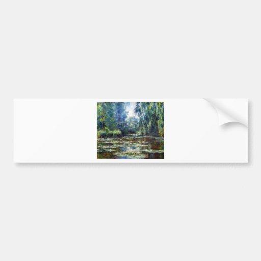 Puente de Claude Monet sobre la charca del lirio d Pegatina Para Auto