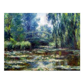Puente de Claude Monet sobre la charca del lirio Tarjeta Postal