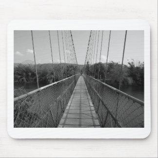 Puente de colgante de B&W sobre el río de Tapetes De Raton