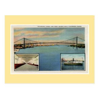 Puente de Detroit del vintage a Windsor Canadá Postales