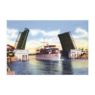 Puente de drenaje de Delray Beach la Florida sobre Lienzo Envuelto Para Galerías