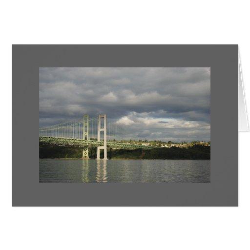 Puente de estrechos de Tacoma de las reflexiones Tarjetón