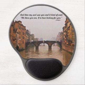 Puente de Florencia con cita del amor Alfombrilla De Ratón Con Gel