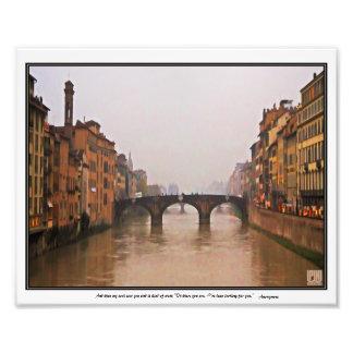 Puente de Florencia con cita del amor Fotografía