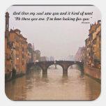 Puente de Florencia con cita del amor Pegatina Cuadradas Personalizadas