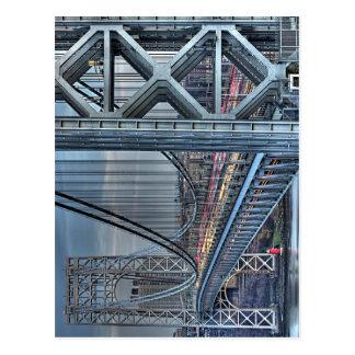 Puente de George Washington y el faro rojo NYC Postales