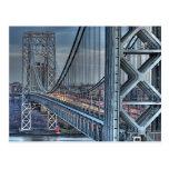 Puente de George Washington y el faro rojo NYC Tarjeta Postal