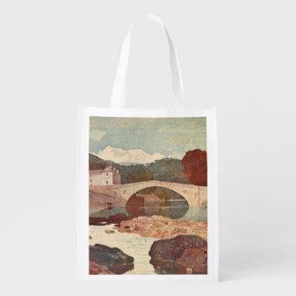 Puente de Greta, colinas del penino, Inglaterra Bolsas Reutilizables