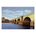 Puente de Hartford el río Connecticut Poster
