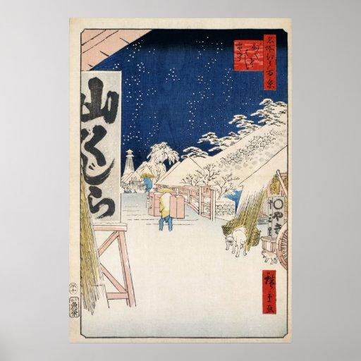 Puente de Hiroshige Bikuni en nieve Póster