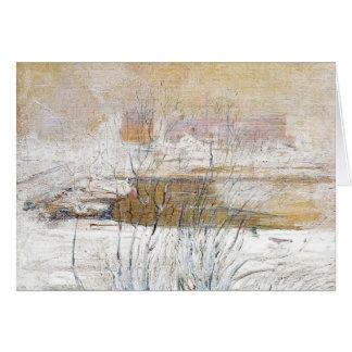 Puente de John Henry Twachtman- en invierno Tarjetón