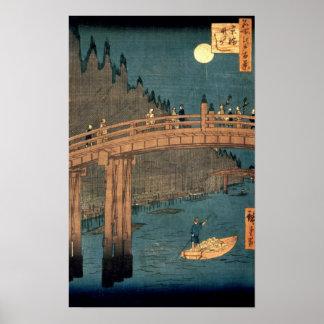 Puente de Kyoto por claro de luna Póster
