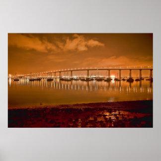 Puente de la bahía de Coronado en el poster de la