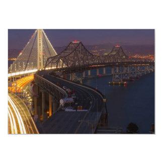 """Puente de la bahía de San Francisco-Oakland de dos Invitación 5"""" X 7"""""""