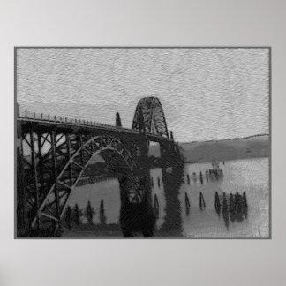Puente de la bahía de Yaquina Póster