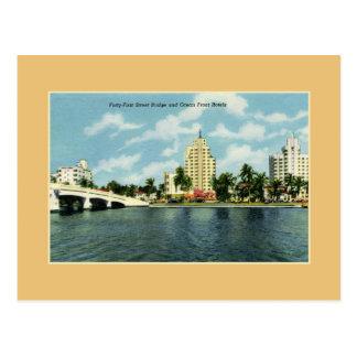 Puente de la calle del vintage 41.o, hoteles Miami Tarjetas Postales