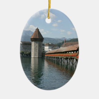 Puente de la capilla, Alfalfa, Suiza Adorno Ovalado De Cerámica