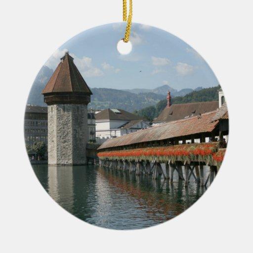 Puente de la capilla, Alfalfa, Suiza Adorno Redondo De Cerámica