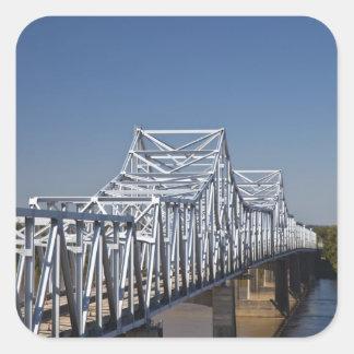 Puente de la carretera I-20 a través del río Misis Pegatinas Cuadradas Personalizadas