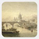 Puente de la catedral y de Londres de San Pablo Pegatinas Cuadradases