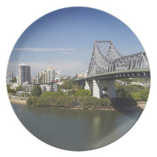 Puente de la historia, río de Brisbane, y canguro Platos De Comidas
