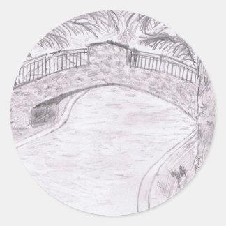Puente de la palma pegatina redonda