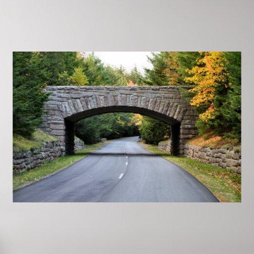 'Puente de la piedra del camino de carro, Acadia P Impresiones
