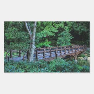 Puente de la roca del banco, Central Park, New Pegatina Rectangular