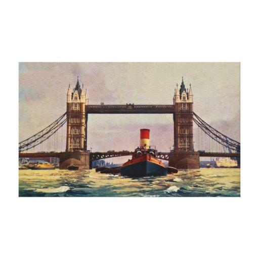 Puente de la torre de la acuarela, vapor Londres Lona Estirada Galerías