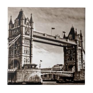 Puente de la torre de Londres de la sepia del Azulejo Cuadrado Pequeño