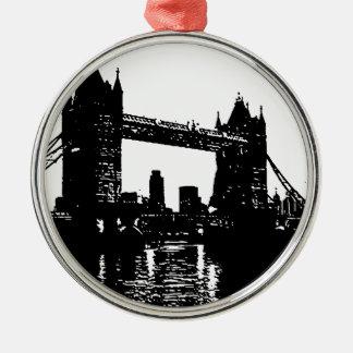 Puente de la torre de Londres del arte pop Adorno Navideño Redondo De Metal