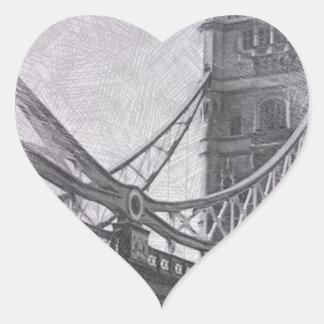puente de la torre del bosquejo pegatinas de corazon