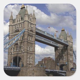 Puente de la torre en Londres Pegatina Cuadrada