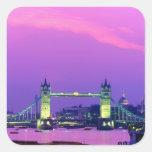 Puente de la torre, Londres, Inglaterra 2 Calcomania Cuadrada Personalizada
