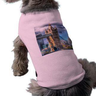 Puente de la torre y la ciudad playera sin mangas para perro